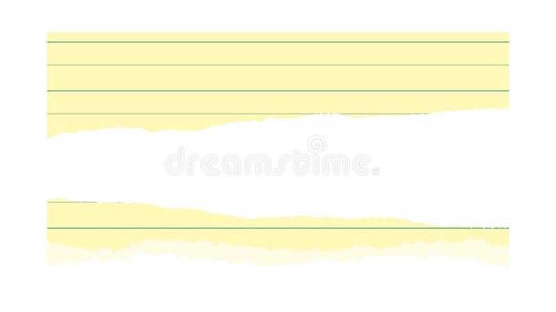 Torn page of notebook paper lined. Illustration of Torn paper with space for text on white background royalty free stock photography