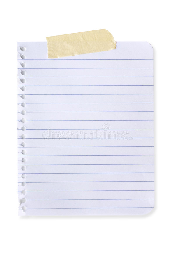 Torn Page (with Path). Torn page from spiral notebook, with masking tape. Isolated on white. Clipping path included royalty free stock photo