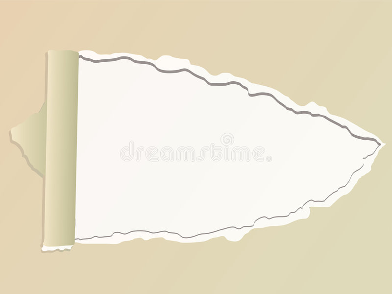 Torn paper. Illustration of a piece of paper with a torn section out of it royalty free illustration