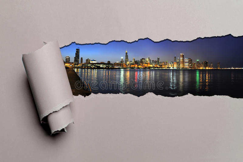 Torn Paper With Chicago Skyline royalty free stock photo