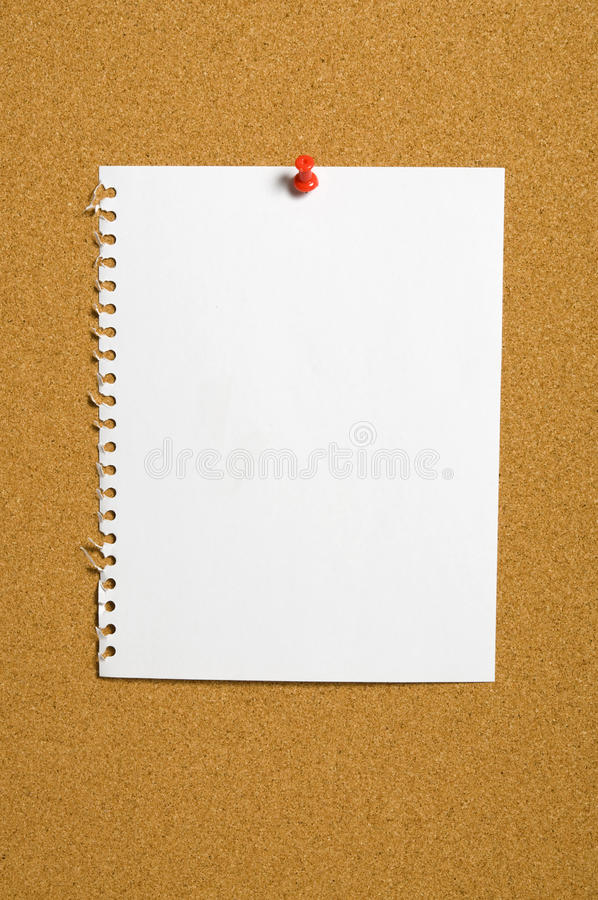 Torn Paper On Corkboard stock photography
