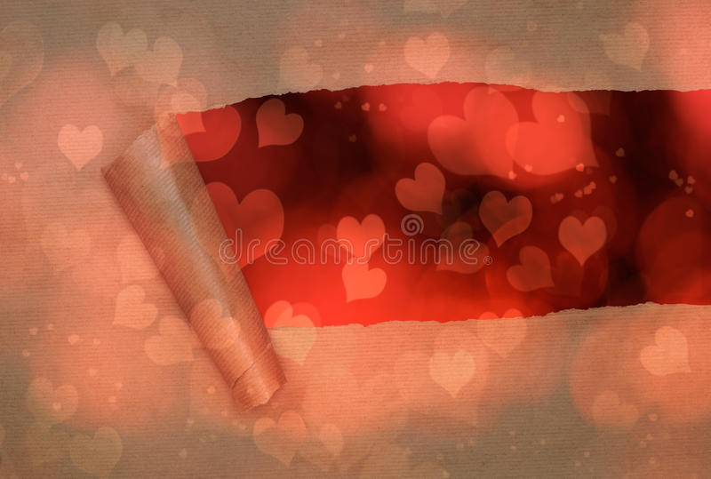 Torn Paper With Hearts royalty free stock image