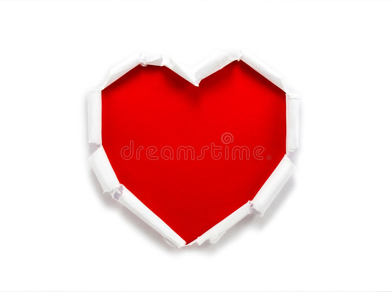 Torn paper hole heart shaped. As holiday background royalty free stock photos