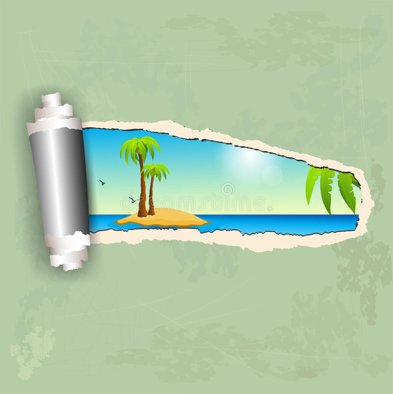 Download Torn paper and island stock vector. Illustration of peaceful - 30215071
