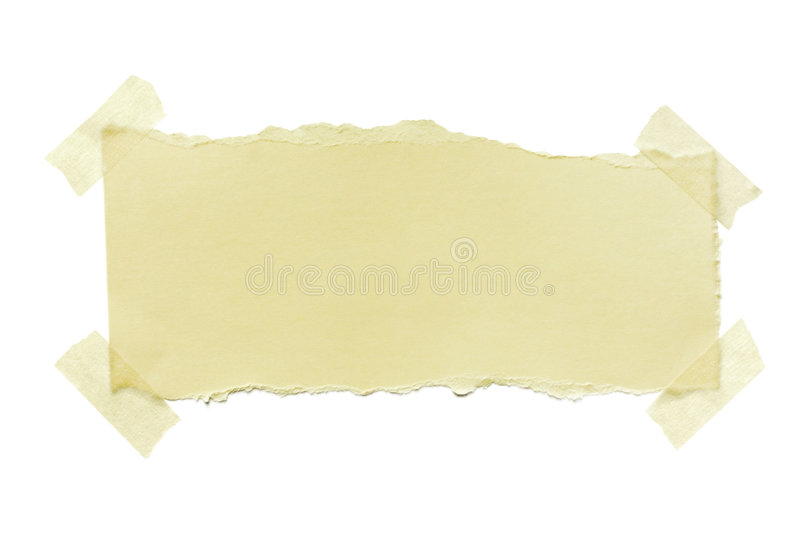 Torn Paper with Masking Tape. Torn yellow paper fastened with masking tape. Isolated on white stock images