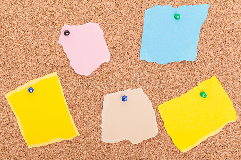 Torn paper notes pushpins cork board stock photo