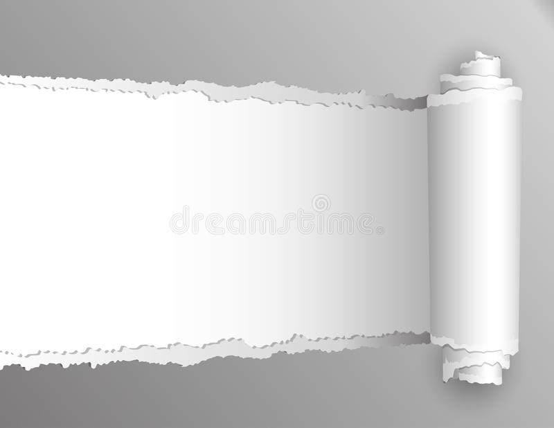 Torn paper with opening showing white background. stock illustration