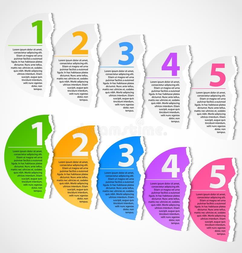 Torn paper progress option labels vector illustration