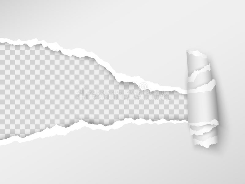 Torn paper. Realistic hole in the sheet of paper on a transparent background. Vector illustration royalty free illustration
