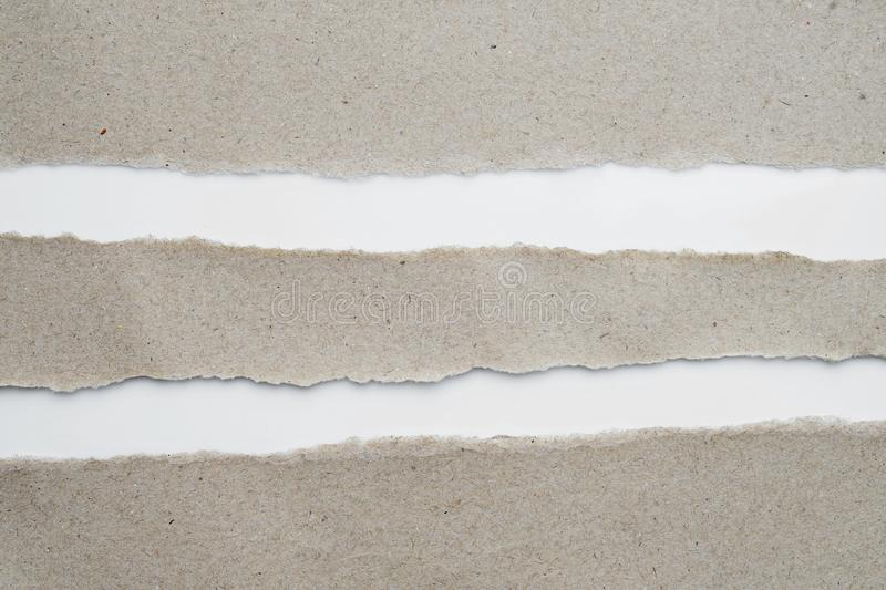Torn Paper ,recycle Paper with space for text for background.  stock image