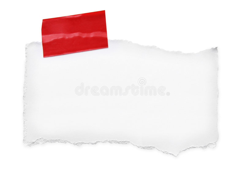 Torn Paper with Red Tape stock images
