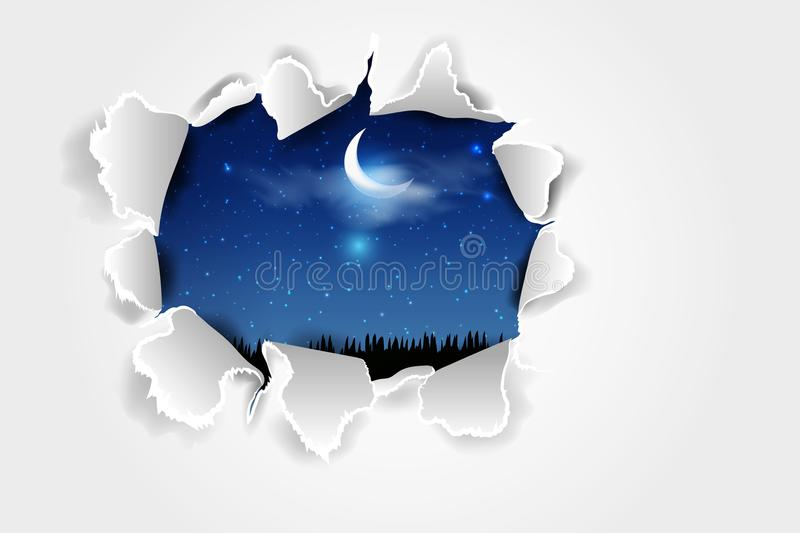 Torn paper with ripped edges. vector background with torn paper over Blue dark night sky. vector illustration