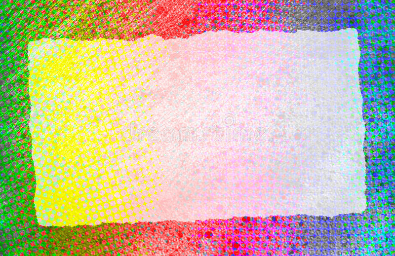 Torn Paper Scrap. A vintage torn paper scrap on a colorful background royalty free illustration