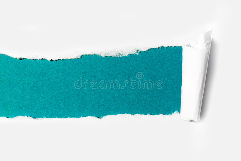 Torn paper with space with white background. stock photos
