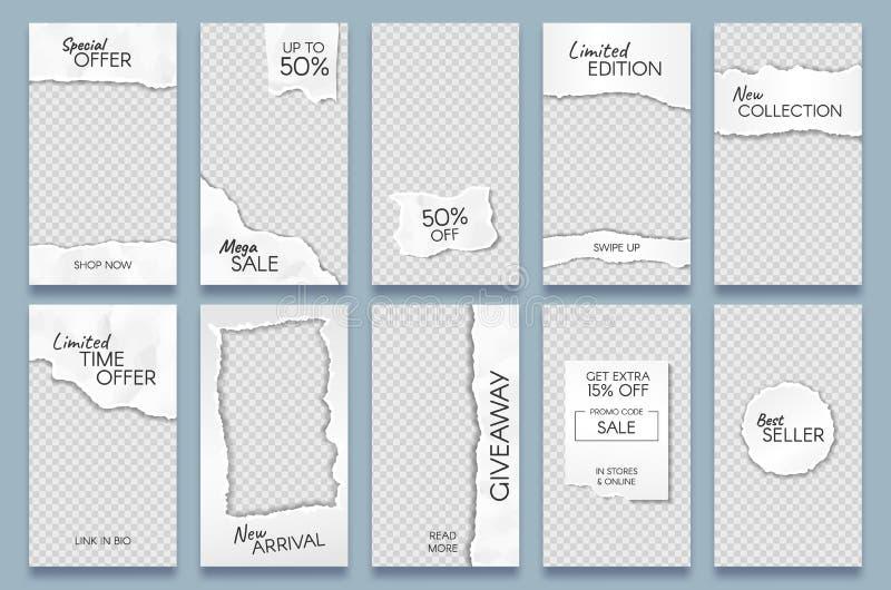 Torn paper stories template. Paper scraps social media story posts branding, minimal trends photo frames templates vector illustration