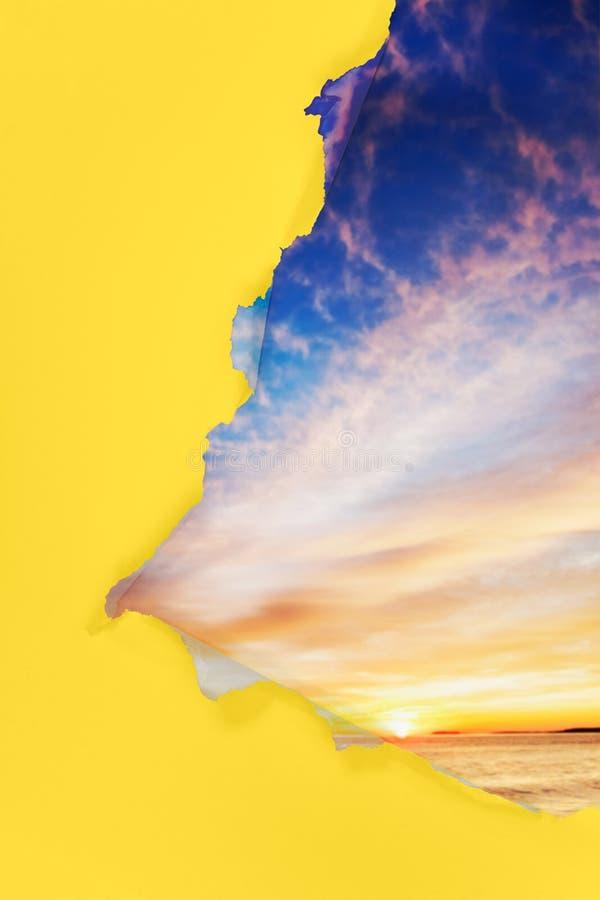Download Torn paper sunrise stock image. Image of breakthrough - 21267101