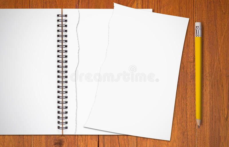 Torn Paper and Yellow Pencil stock image