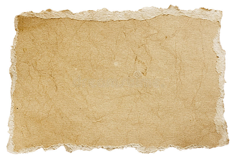 Torn piece of old rough paper royalty free stock photography