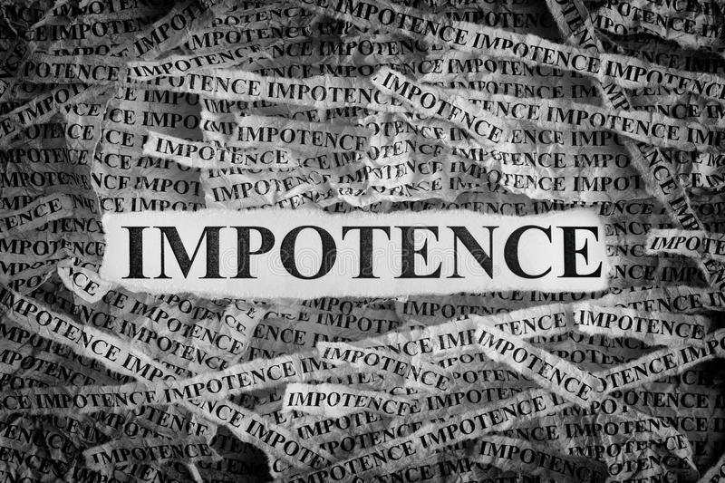 Torn pieces of paper with the words Impotence. Impotence. Torn pieces of paper with the words Impotence. Concept Image. Black and White. Closeup stock photos