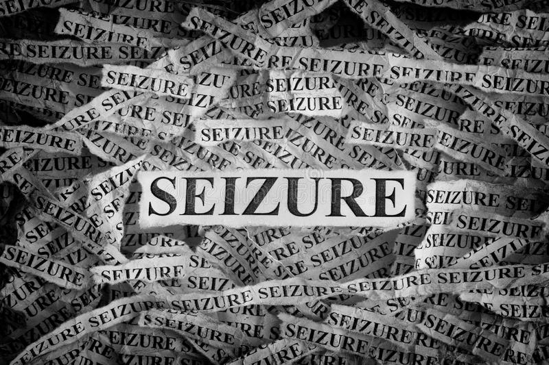 Torn pieces of paper with the words Seizure. Seizure. Torn pieces of paper with the words Seizure. Concept image. Black and White. Close up stock image