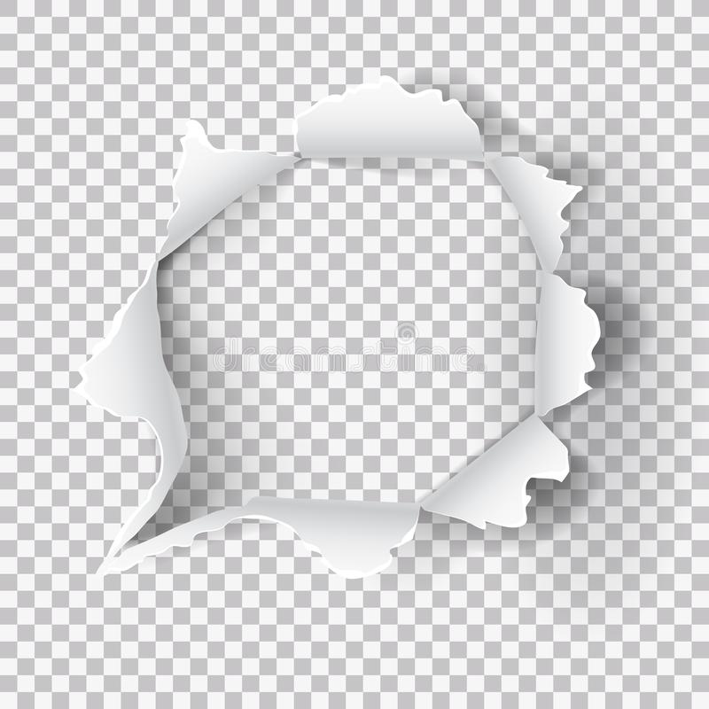 Torn Ripped Paper Hole On Transparent Background stock illustration