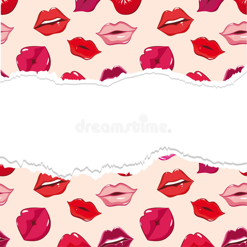 Torn Seamless Pattern, Print Of Lips. Stock Photos