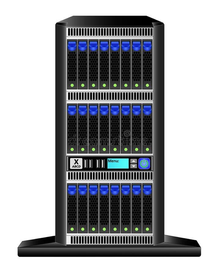 Torn-server 4u vertikal version med 24 hårddiskar 2 5 tum och en liten skärm för ledning stock illustrationer
