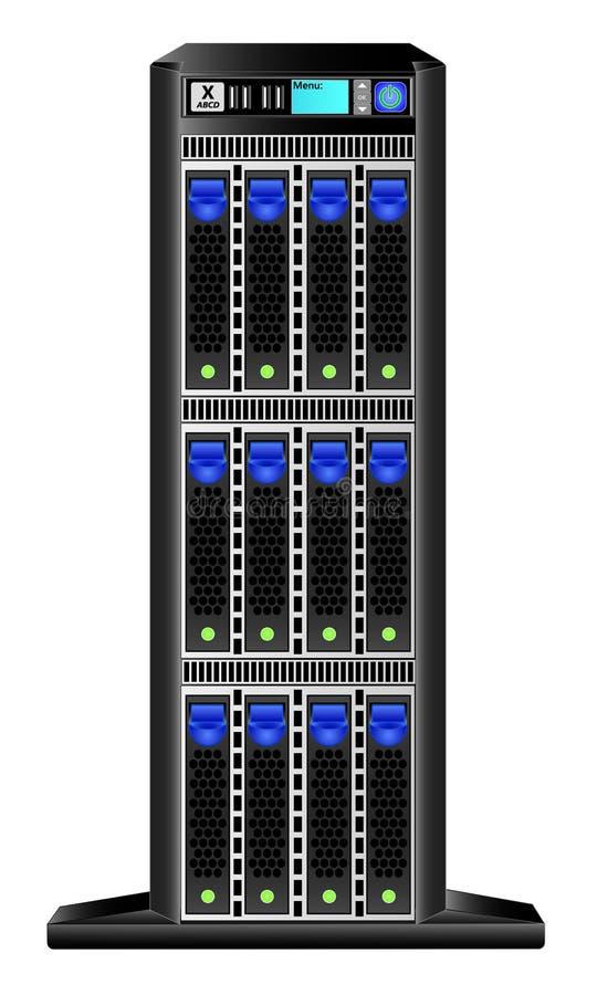 Torn-server vertikal version med 12 hårddiskar 3 5 tum och en liten skärm för ledning stock illustrationer