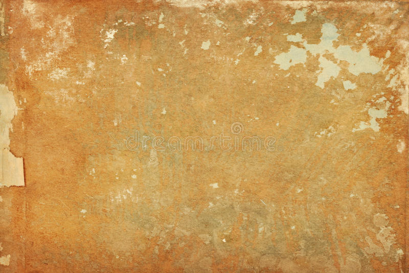 Torn shabby paper distressed background. With paper and paint scraps royalty free stock image