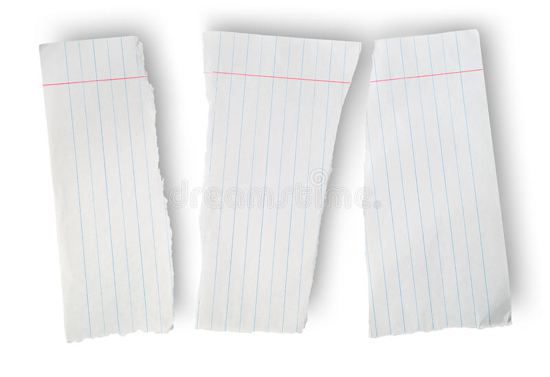 Torn sheet of paper from a school notebook royalty free stock photo