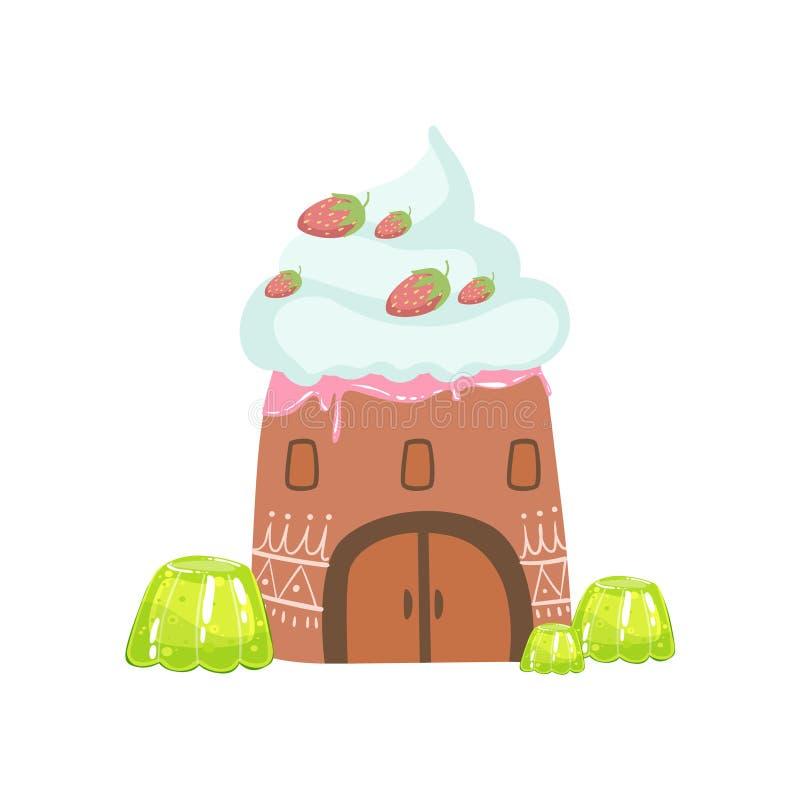 Torn som göras av godisen, piskad kräm och Jelly Fantasy Candy Land Sweet landskapbeståndsdel stock illustrationer