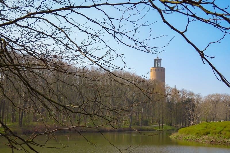 Torn, träd och damm, Maria Hendrika Park, Ostend, Belgien royaltyfria foton