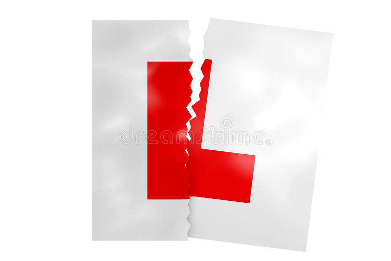 Torn up L plates. A 3D illustration of driving L plates having been ripped in two royalty free illustration