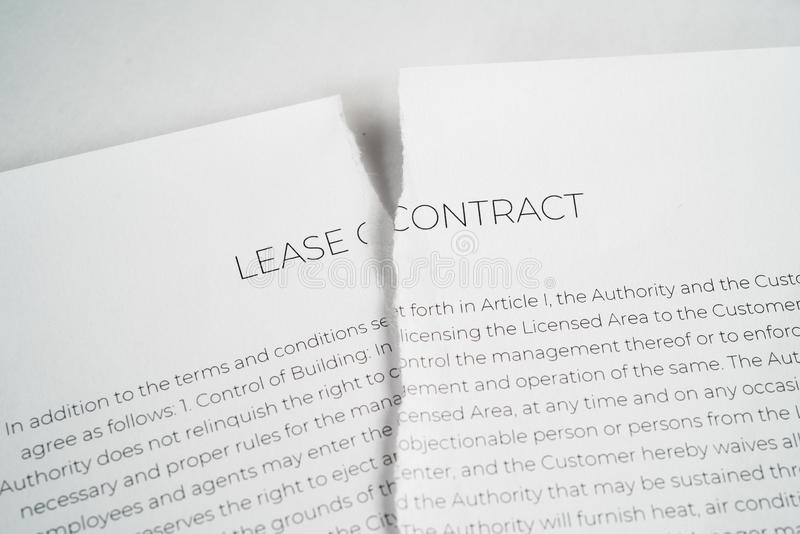 Torn up Lease contract. On a white background stock photos
