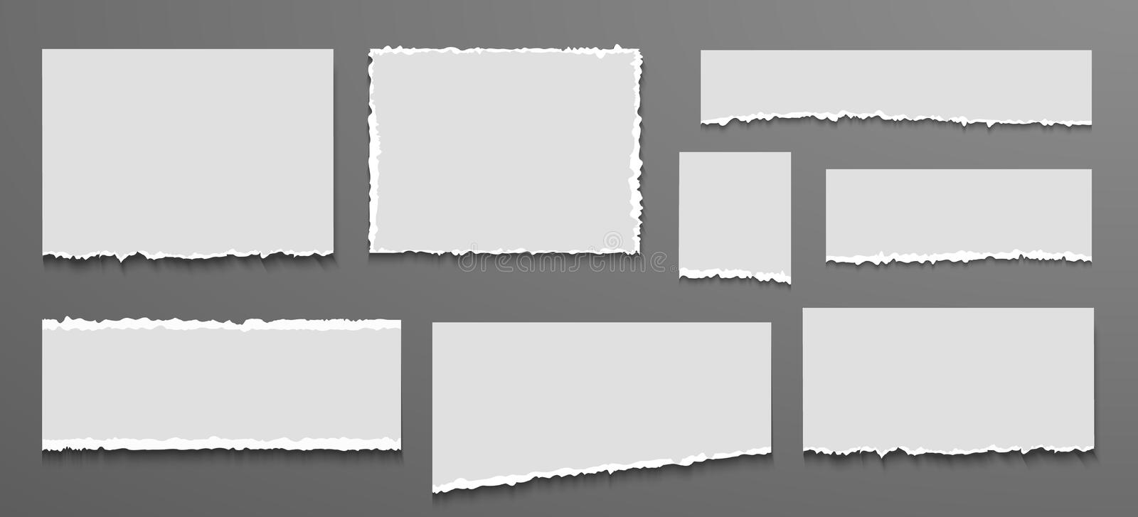 Torn white blank note set. Ripped notebook paper stock illustration