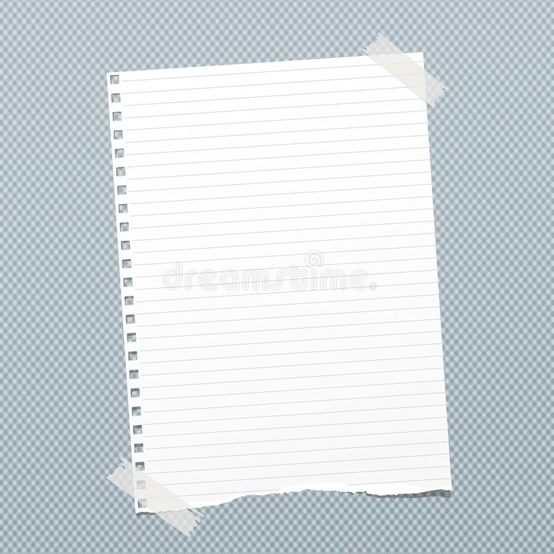 Torn white lined note, notebook paper sheet for text stuck with sticky tape on blue squared background.  stock illustration
