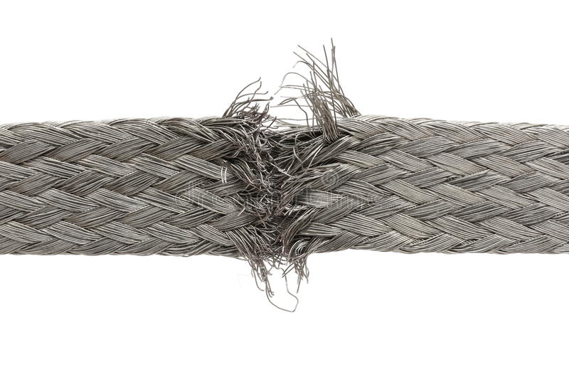Torn wire isolated. A torn wire isolated on white stock photography