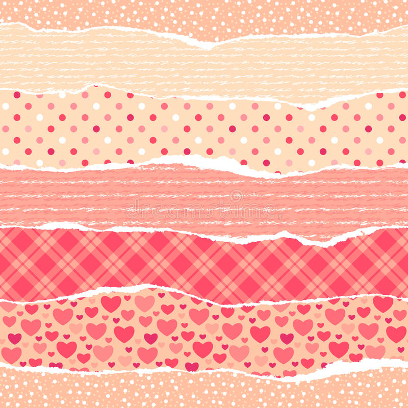 Download Torn Wrapping Paper With Hearts. Stock Vector - Illustration: 24090808