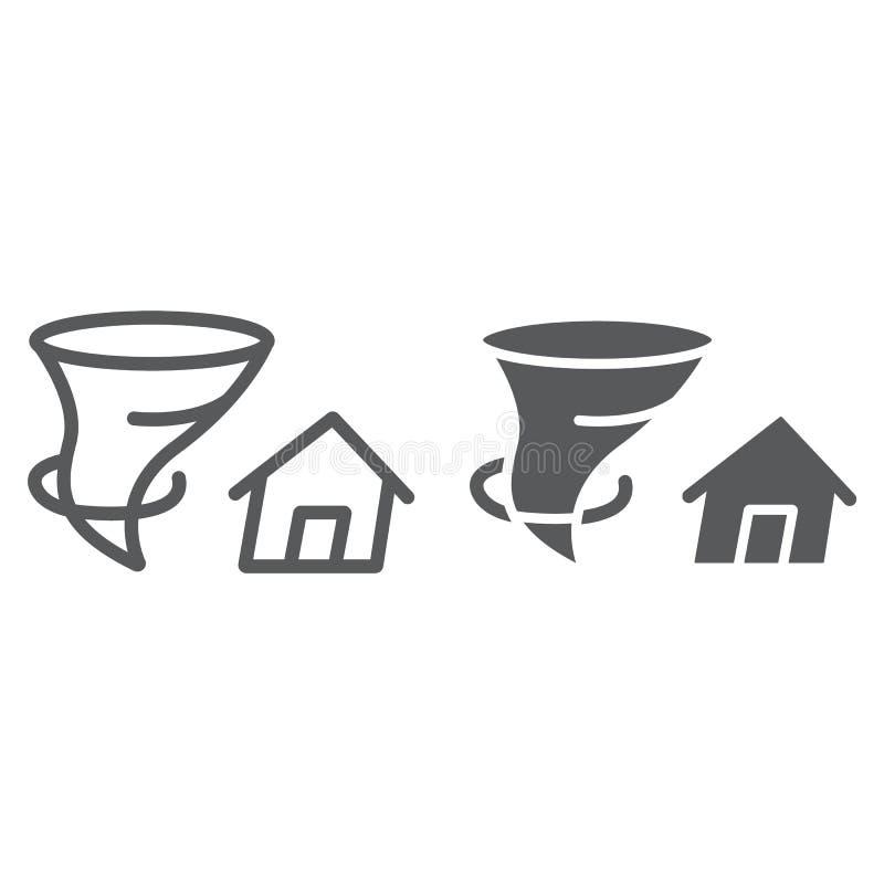 Tornada ubezpieczenia linia, glif ikona, katastrofa, natura, dom i tornado, podpisujemy dalej, wektorowe grafika, liniowy wzór ilustracji