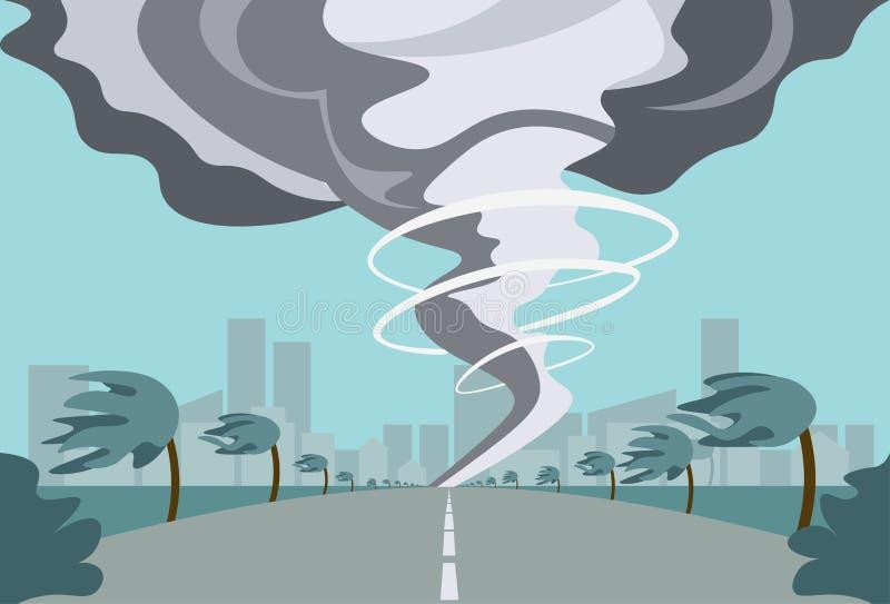Tornade dans le paysage d'ouragan de campagne de la tornade de trombe de tempête dans le concept de catastrophe naturelle de cham illustration libre de droits