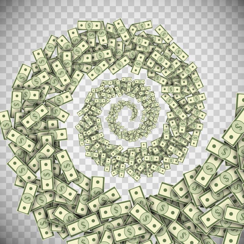 Tornade de billets de banque du dollar, ouragan d'argent vert illustration de vecteur