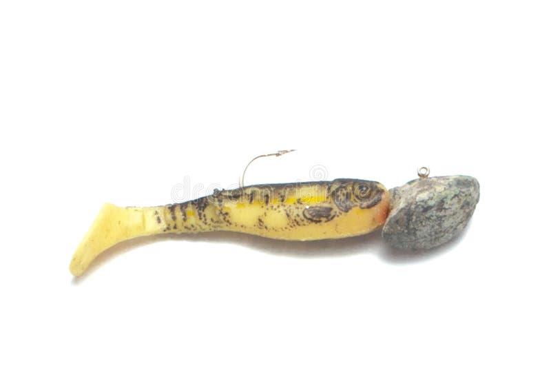 Tornade de silicone dans diff?rentes couleurs d'isolement sur un fond blanc Larves de pêche artificielles des insectes sur le fon images stock