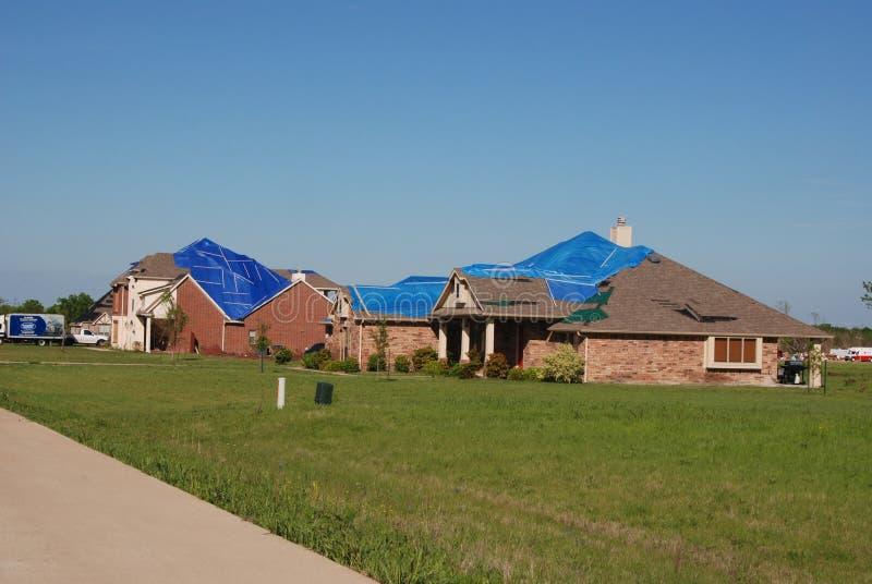 Tornade du Texas - dommages de toit photographie stock