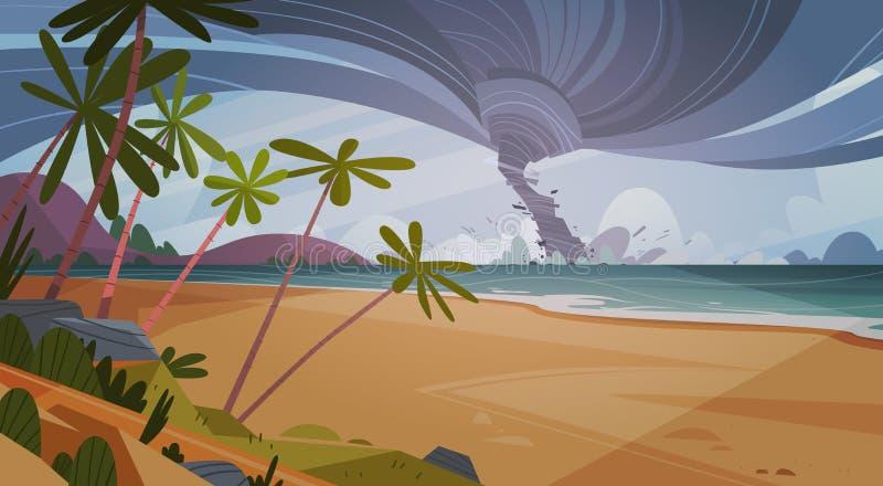 Tornade entrante de l'ouragan de mer dans le paysage de plage d'océan illustration de vecteur