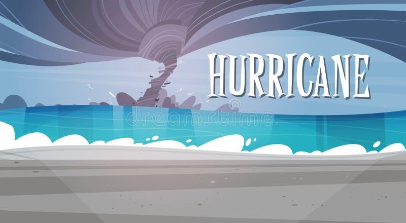 Tornade entrante de l'ouragan de mer dans le paysage de plage d'océan de la tempête illustration de vecteur
