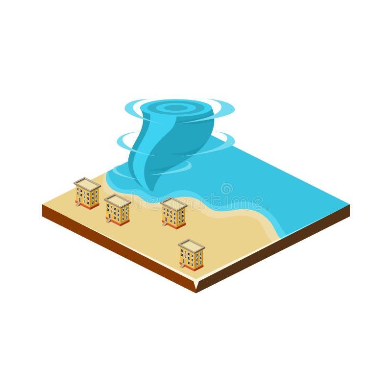 Tornade sur l'eau Icône de catastrophe naturelle Illustration de vecteur illustration stock