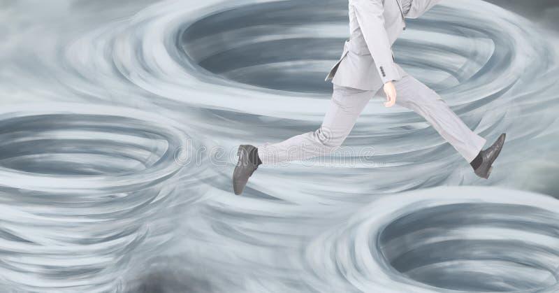 Tornades de tornade peintes et ciel foncé avec l'homme sautant avec des jambes illustration libre de droits