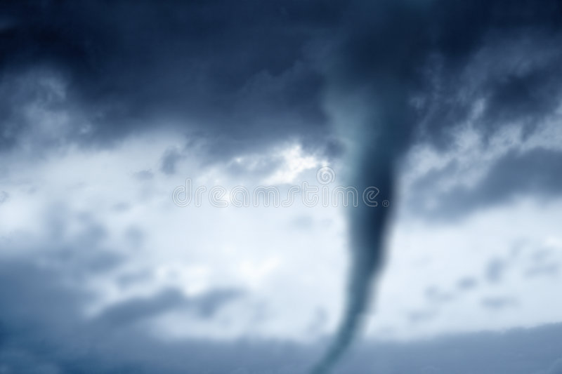 Tornado. Digitally Generated Image of stormy weather and twister stock image