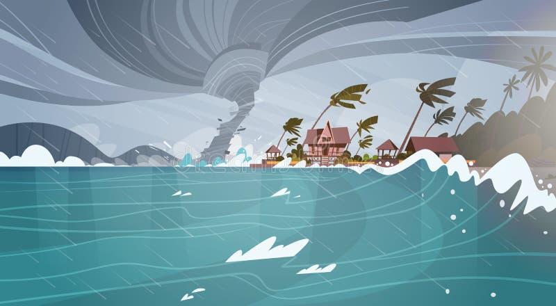 Tornado ankommend vom Seehurrikan in den Ozean-enormen Wellen auf Häusern auf Küsten-tropischem Naturkatastrophe-Konzept stock abbildung