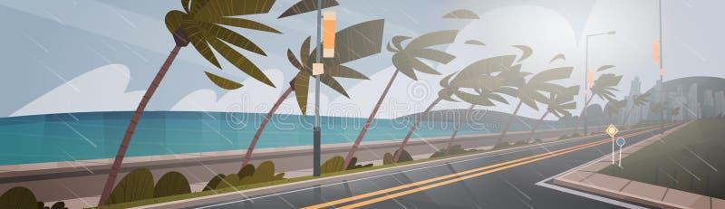 Tornado ankommend vom Seehurrikan im Ozean-enormen Wind über Palme-und Straßen-tropischem Naturkatastrophe-Konzept lizenzfreie abbildung